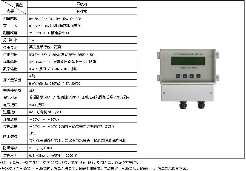 四线制分体式超声波液位计技术参数